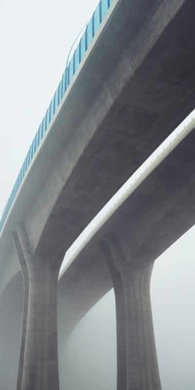 Elevated highway in mystery fog